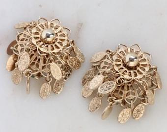 Vintage Gold Filigree Flower Earrings