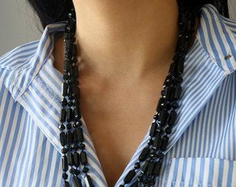 Black Statement Necklace - Multi Strand Black Necklace