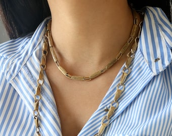 Set of 2 Gold Tone Necklaces - Gold Link Necklaces