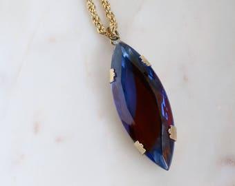 Blue Glass Pendant - Large Blue Necklace