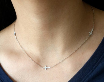 Sterling Cross Necklace - Sideways Cross Silver Necklace