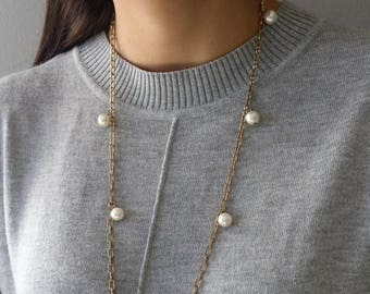 Pearl Gold necklace - Long Pearl Necklace - Vintage Pearl Necklace