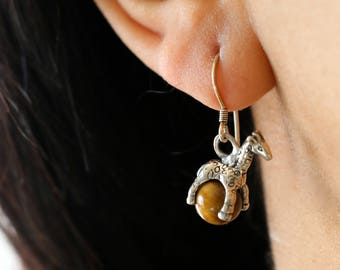 Sterling Giraffe Drop Earrings - Tiger Eye Drop Earrings - Tiger Eye Giraffe Dangle Earrings