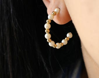 Pearl Hoop Earrings - Gold Hoop Earrings
