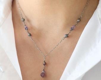 Purple Silver Necklace - Purple Bead Necklace - Silver Necklace