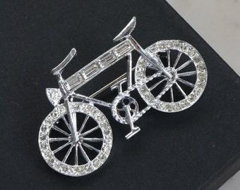 2eef5ba2d82 Silver Bicycle Brooch - Rhinestone Bicycle Brooch