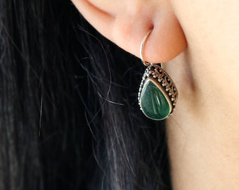 Natural Green Agate Sterling Earrings - Teardrop Agate Earrings - Filigree Silver Earrings
