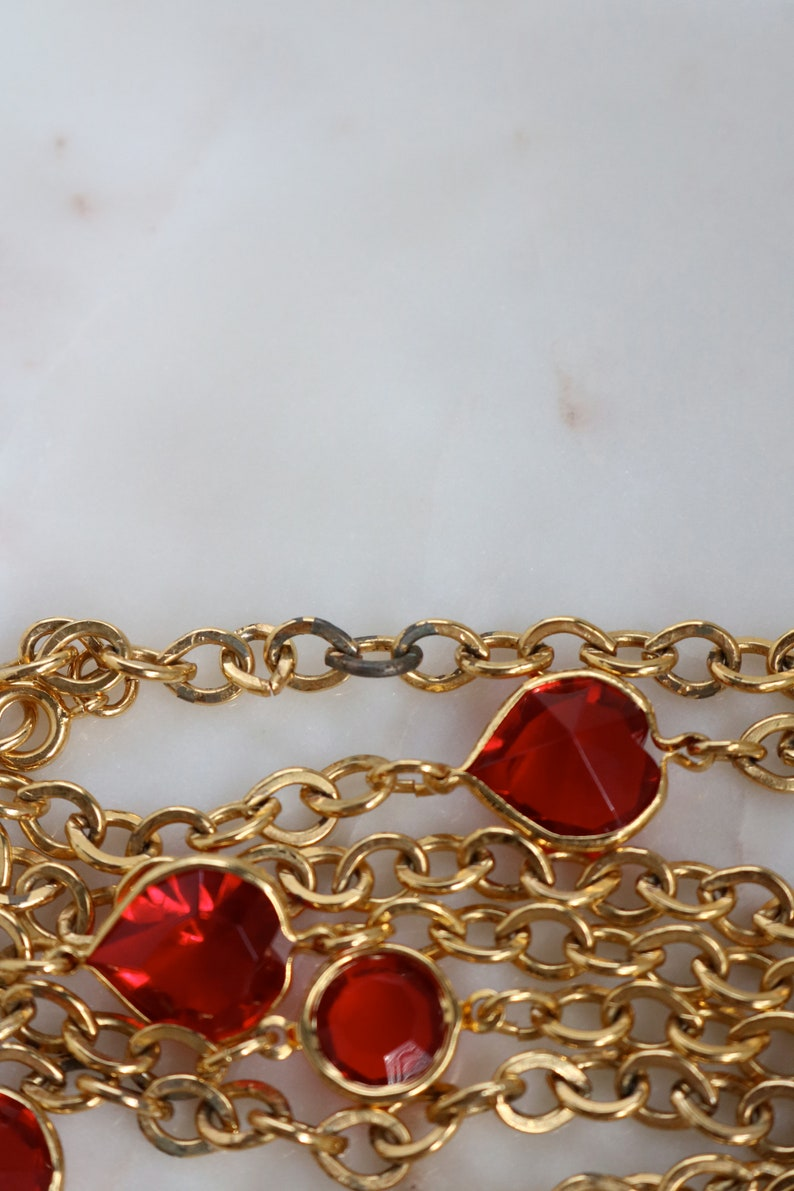 Set of 3 Gold Tone Chain Necklaces Clear Glass Chain Necklace Red Glass Gold Chain Necklace