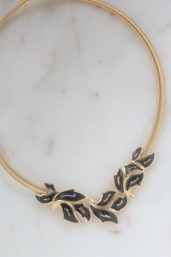 Vintage Trifari Black Enamel Leaf Necklace