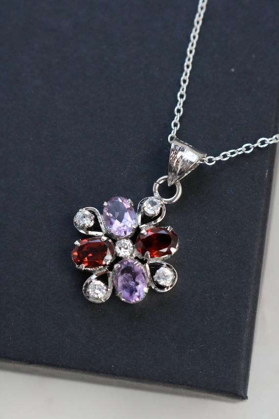 Vintage Sterling Crystal Pendant - Purple Red Crys