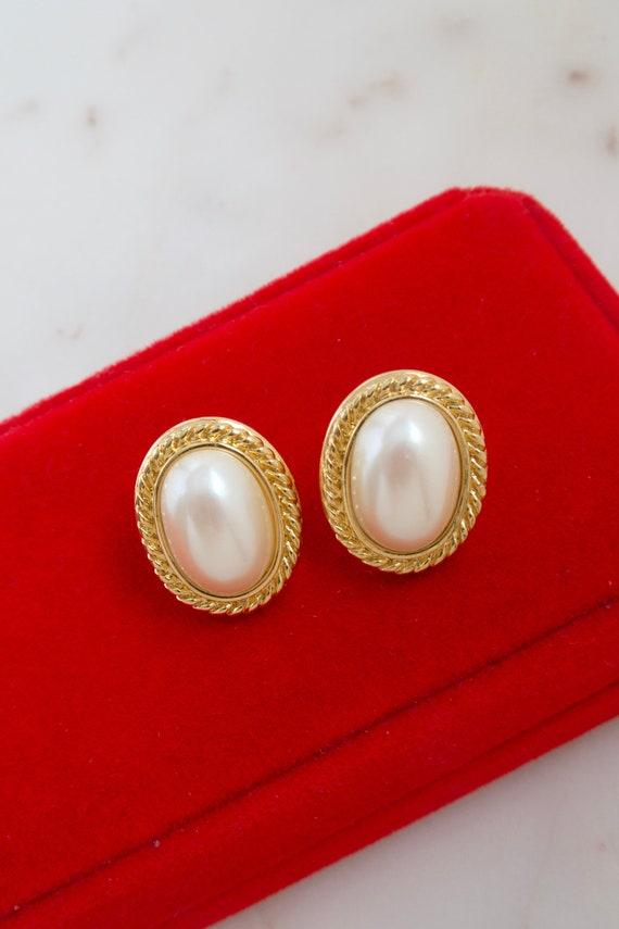 Vintage Monet Oval Pearl Gold Earrings