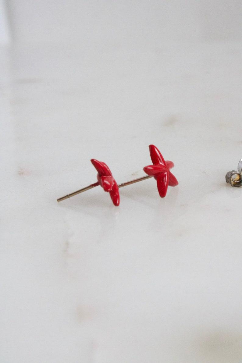 Red Starfish Stud Earrings