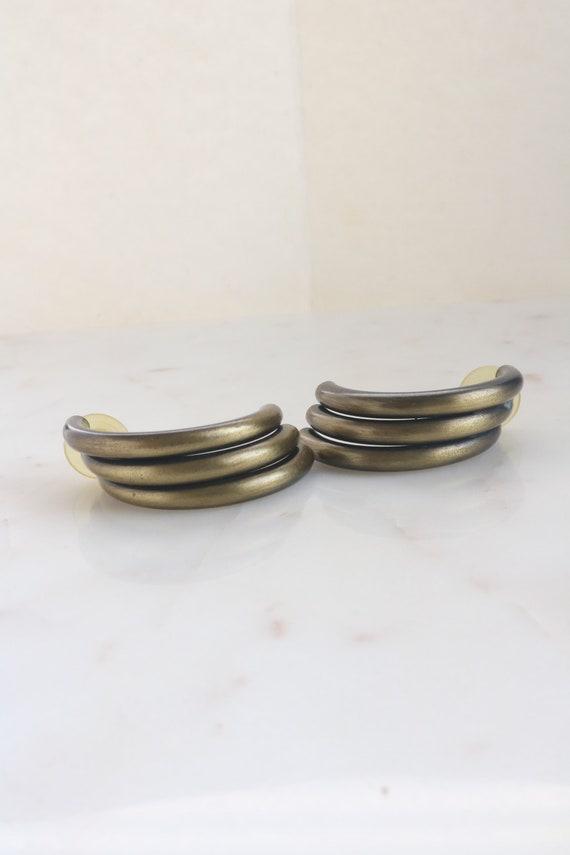Vintage Tube Half Hoop Earrings - Dangle Hoop Earr