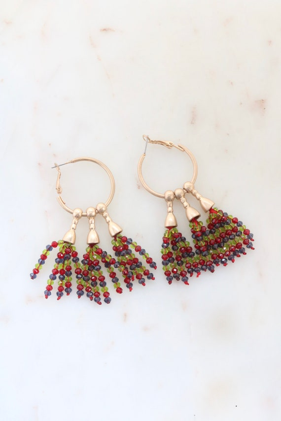 Crystal Bead Tassel Earrings - Gold Hoop Earrings