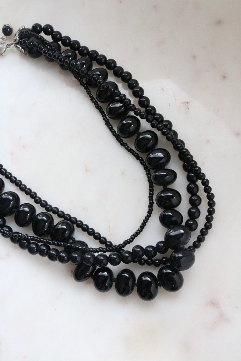 Black Bead Strand Necklace