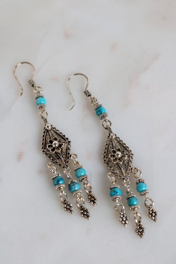 Filigree Sterling Dangle Earrings - Blue Turquoise