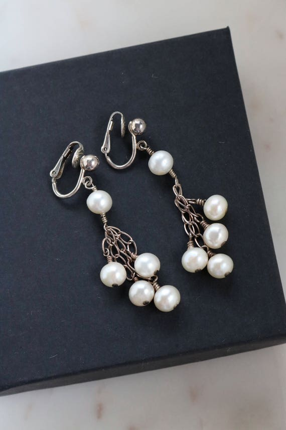 Sterling Silver Pearl Clip On Earrings - White Pea