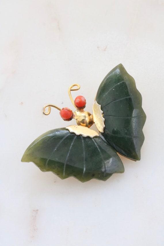 Vintage Jade Butterfly Brooch