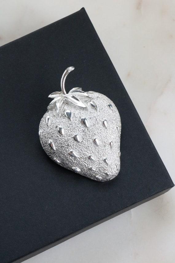 Vintage Silver Strawberry Brooch  - Sarah Cov Stra