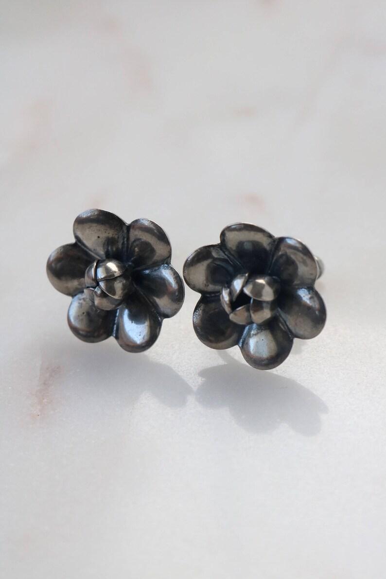 Silver Flower Earrings Boho Silver Earrings Vintage Sterling Silver Rose Flower Earrings Tribal Flower Earrings