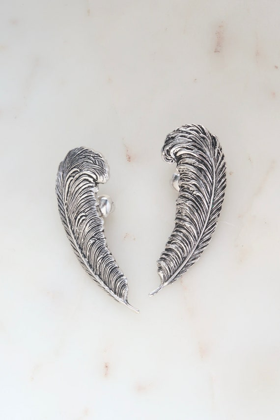 Silver Feather Ear Climbers Earrings