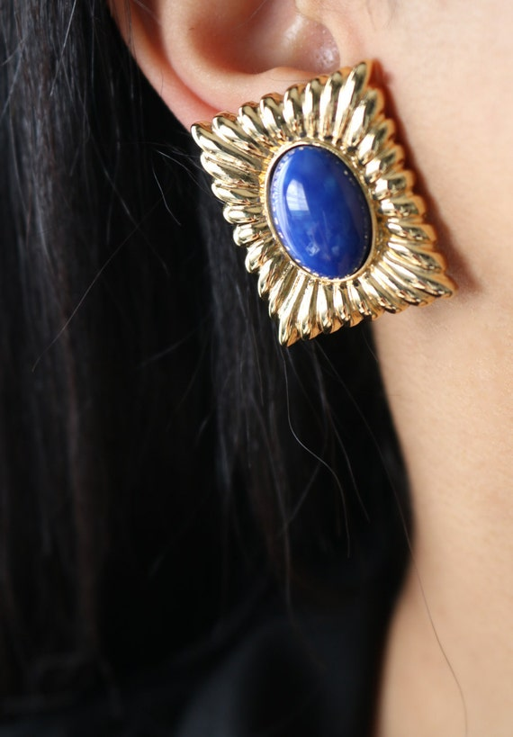 Aqua square earrings Vintage clip on earrings Aqua blue earrings Square earrings clip Square clip on earrings Antique clip on earrings
