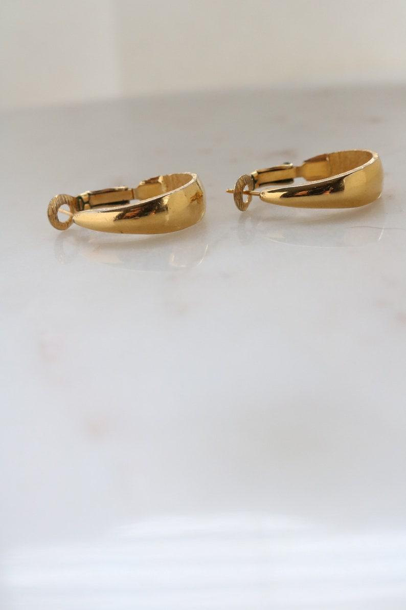 f8fcaafd52a89 Vintage Trifari Gold Tone Hoop Earrings - 60's Gold Hoops