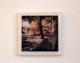 Original photographic tile wall hanging - park bench