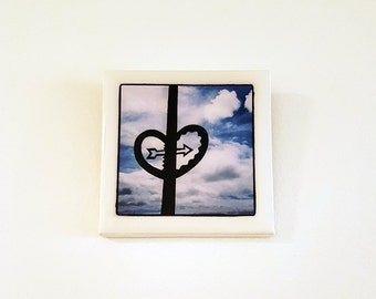 Original photographic tile wall hanging - heart in the sky