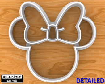 Minnie Mouse Cookie Cutter, Detailed Or Outlined, Selectable sizes, Sharp Edge Upgrade