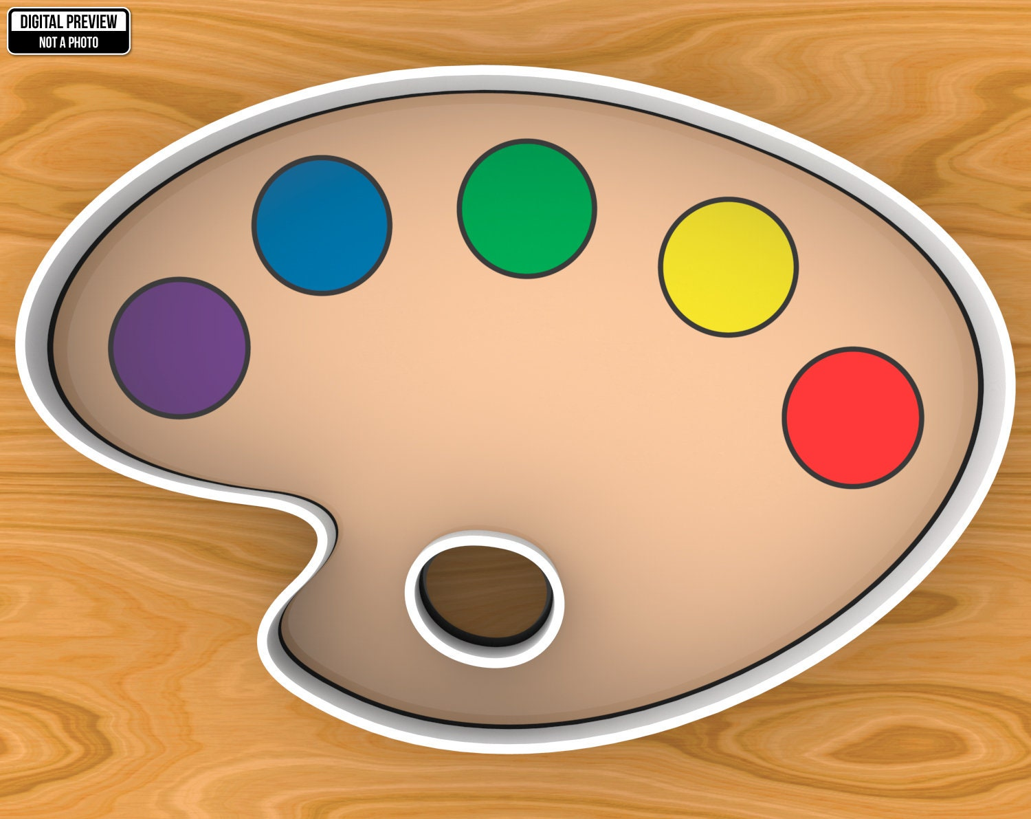Selectable sizes SKU1277 Paint Palette Cookie Cutter