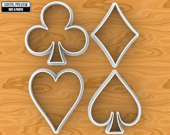 Playing Cards Full Set or Single Cookie Cutter: Hearts, Diamonds, Clubs, Spades. Selectable sizes