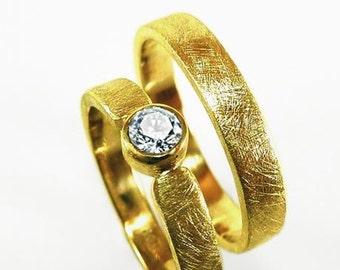 Wedding rings diamond yellow gold SET with engraving, wedding rings, newlyweds, wedding, bride, bridegroom - handmade by SILVERLOUNGE