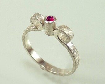 womens ring statment ring made of sterling silver with real ruby and two arabesques, tall frame, stacking ring - handmade by SILVERLOUNGE