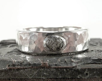 Silver ring diamond uncut - uncut rough diamond, solid sterling silver, unique piece - handforged - by SILVERLOUNGE