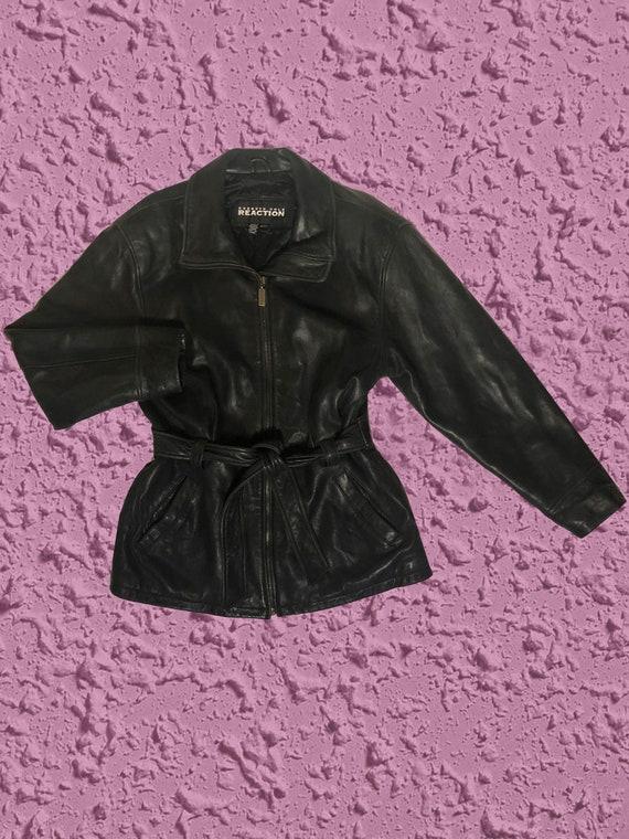 90s Kenneth Cole Belted Black Leather Jacket, Belt
