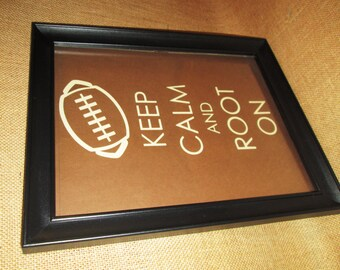 Football Man Cave Art Keep Calm and Root On Hanging Sign is the Perfect MensGift or Fathers Day Gift for Football Fans or Super Bowl Party