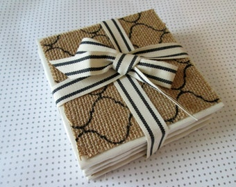 Coasters Drink Coasters Christmas Decor Holiday Decor Coffee Table Coasters Coaster Set Christmas Gift Tile Coaster Set Burlap Coasters