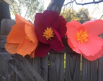Crepe Paper Flowers extra large for a wedding back drop, wedding accents, home decor, or party decorations.
