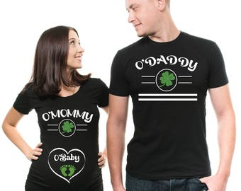 04a4b0d9796d3 Couple St Patrick's Day Matching Funny T-Shirts Dad Maternity Birth  Announcement Irish Party Cool Photoshoot Ideas Tee Shirts