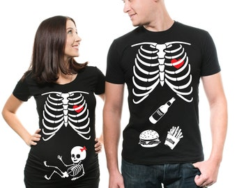 couple skeleton girl t shirts matching maternity halloween party pregnancy tee shirt skeleton cool tee shirts