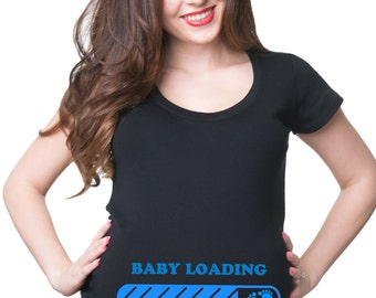 e095b1ee Pregnancy T-shirt Loading Please Wait Maternity T Shirts Gift for New Mommy  Maternity Top T-shirt