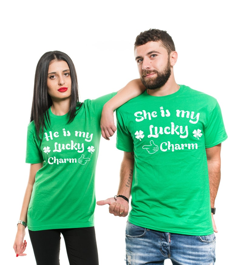 Hes Shes So Lucky Funny Irish Sweaters St Patricks Day Couples Sweatshirts