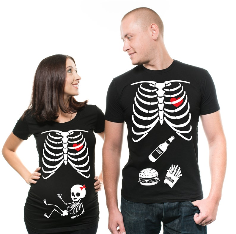 564d57e3cd159 Couple Skeleton Girl T-Shirts Matching Maternity Halloween | Etsy