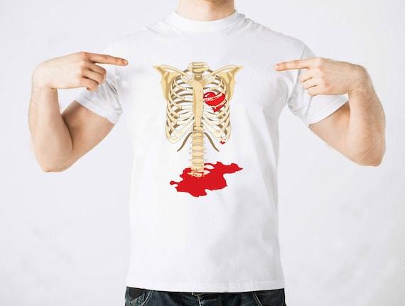 Skelett Rippen Blut Herz Anatomie kreativen T-Shirt stilvolle   Etsy