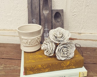 Book Page Paper Roses, Book Themed Wedding, Custom Paper Roses, Dallas Handmade Paper Flowers