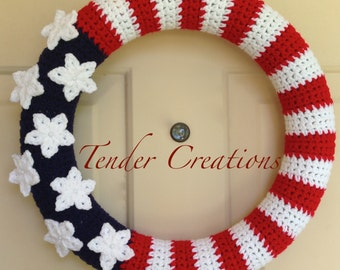 4th of July Wreath/American Flag Wreath/Crocheted Wreath/Wreaths/American Flag/4th of July Decorations/Home Decor
