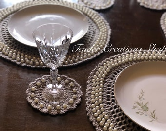 PATTERN ONLY Pearl Placemats & Coasters