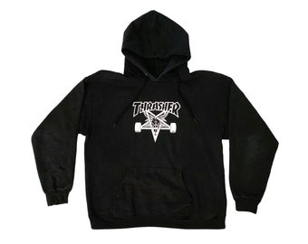 d72514b0fe49 Thrasher Magazine Skategoat Black Hooded Sweatshirt Medium Hoodie Skate San  Francisco Skateboard Goats Head Pentagram