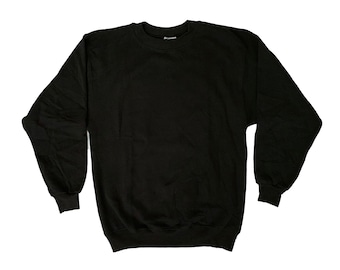 e52b30f84 Vintage Hanes Blank Black Sweatshirt Made in USA 50/50 Medium Large  Deadstock